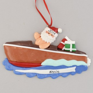 Santa in Chris-Craft Speedboat Personalized Christmas Ornament