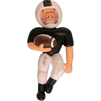 Football in Black and White Uniform Personalized Christmas Ornament