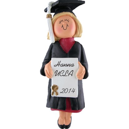 Graduate: Blonde Female Personalized Christmas Ornament