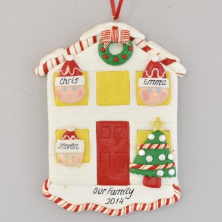 House for a Family of Three Personalized Christmas Ornament