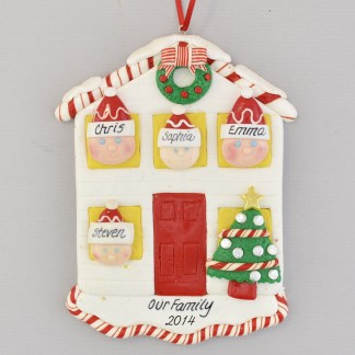 House for a Family of Four Personalized Christmas Ornament