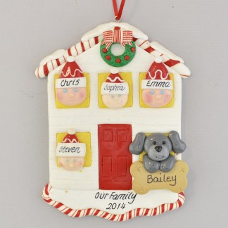 House for Family of Four with One Pet Personalized Christmas Ornament