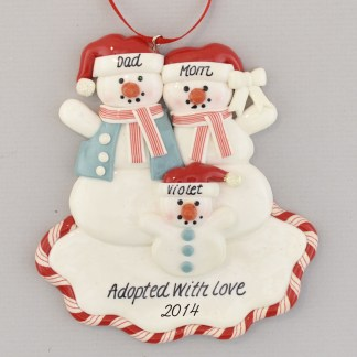 Snowparents wtih Adopted Child Personalized Christmas Ornament