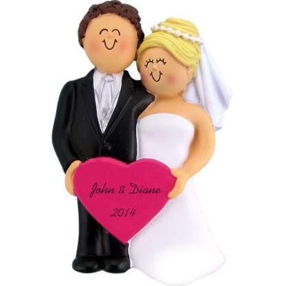 Wedding: Male Brunette, Female Blonde, Personalized christmas Ornament