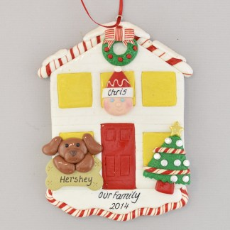 House for 1 Person with 1 Dog or Cat Personalized christmas Ornament