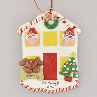 House for a Couple with 1 Dog or Cat Personalized christmas Ornament