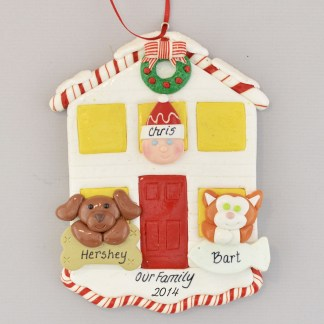 House for 1 Person with 2 Pets Personalized Christmas Ornament