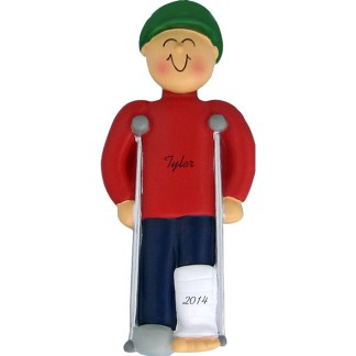 Crutches: Male Personalized Christmas Ornament