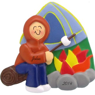 Camping: Male Personalized christmas Ornaments