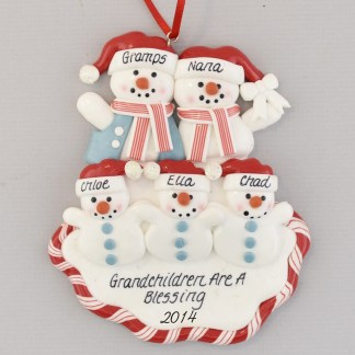 Three Grandchildren for Grandparents personalized christmas Ornament