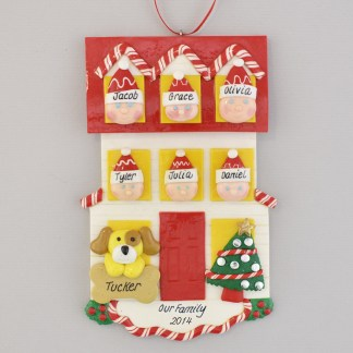 Personalized House christmas Ornament for Family of 6 with 1 Pet