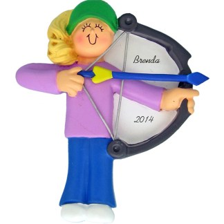 archery female blonde personalized christmas ornament