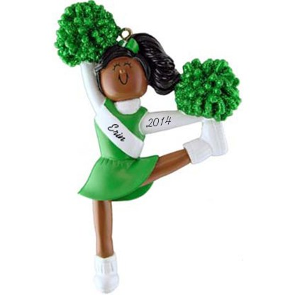 Cheerleader: Green Uniform, Personalized christmas Ornament