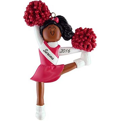 cheerleader, red uniform personalized christmas ornament