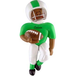 Football Player: Green Uniform, Personalized christmas Ornament