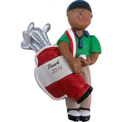 Golfer: Male Personalized christmas Ornament