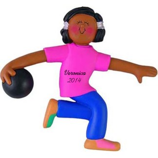 Bowler: Female, Personalized christmas Ornament