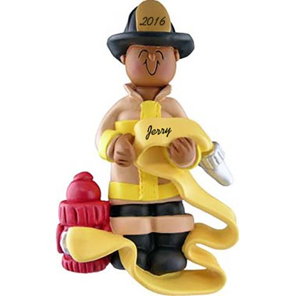 firefighter african american ornament