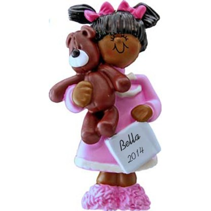 Girl with Teddy Bear: Ethnic Personalized christmas Ornament