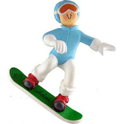 Snowboarder: Female, Personalized Christmas Ornament