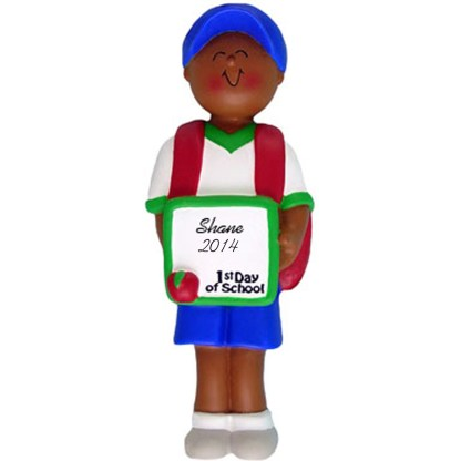 First Day of School: Ethnic Boy Personalized christmas Ornament