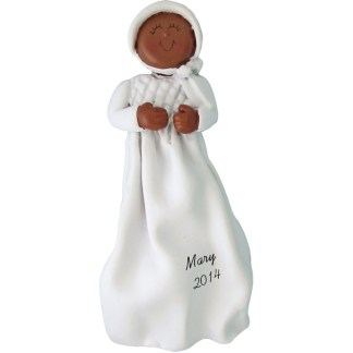 Baptism/Christening: Ethnic Girl Personalized christmas Ornament