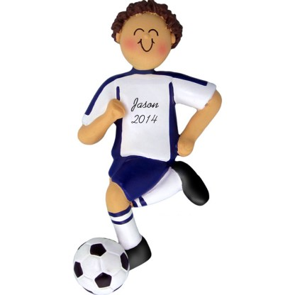 Soccer Dribbling Brunette Boy in Blue Uniform Personalized christmas Ornament