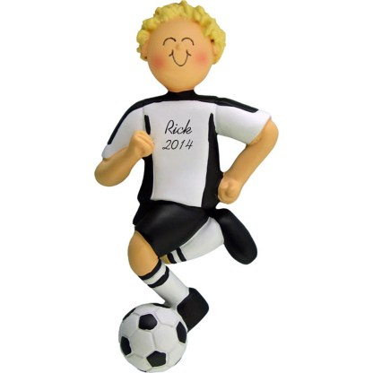 Soccer Dribbling Blonde Male in White Uniform Personalized christmas Ornament