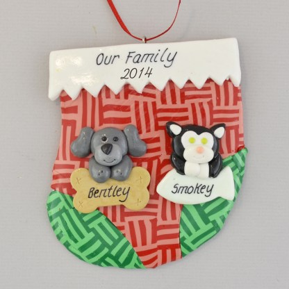 holiday stocking with two pets personalized christmas ornament