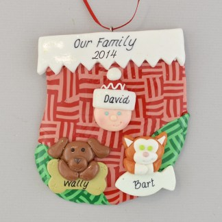 holiday stocking for one person with two pets personalized christmas ornament