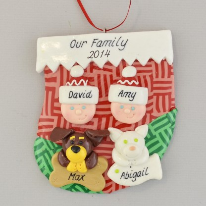 couple in stocking with two pets personalized christmas ornament