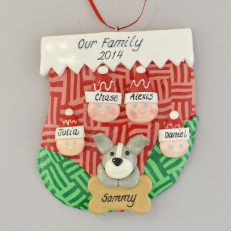 family of four with one pet personalized christmas ornament