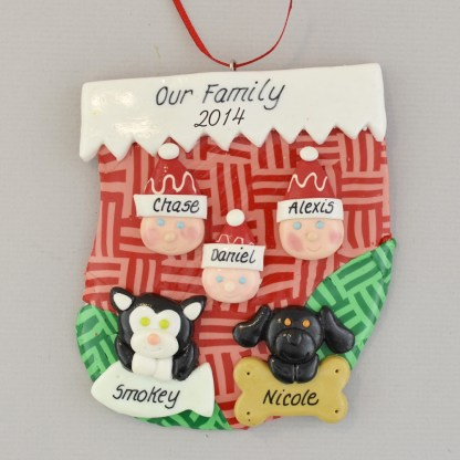 family of three with two pets personalized christmas ornament