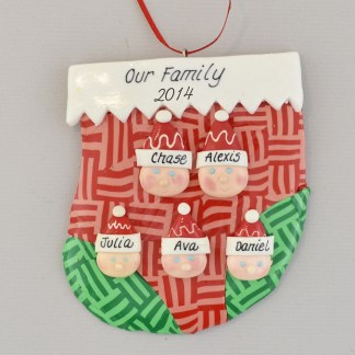 family of 4 in a stocking personalized family christmas ornament