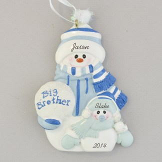 brother with little brother snow people personalized christmas ornament