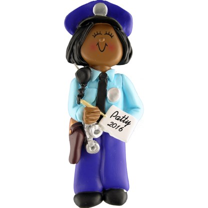 policewoman african american personalized christmas ornament