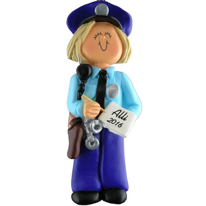 police woman blonde personalized christmas ornament