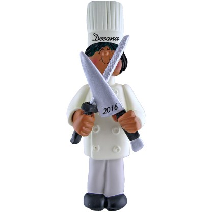 chef female african american personalized christmas ornament