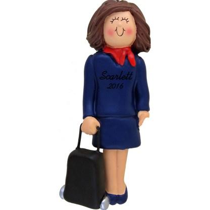 stewardess brunette personalized christmas ornament