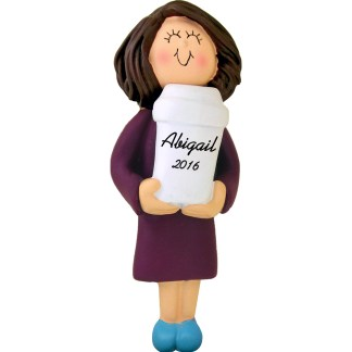 coffee drinker woman brunette personalized christmas ornament