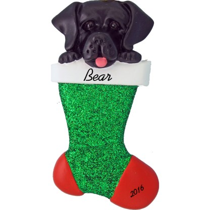 Black Lab in stocking personalized pet christmas ornament