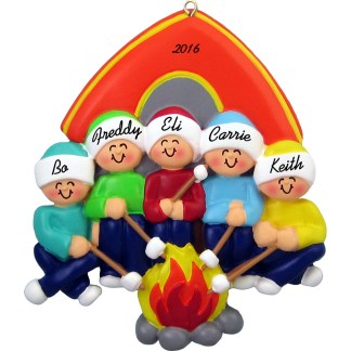 camping family of five personalized christmas ornament