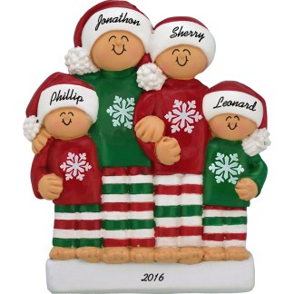 pajamas family of 4 personalized christmas ornament