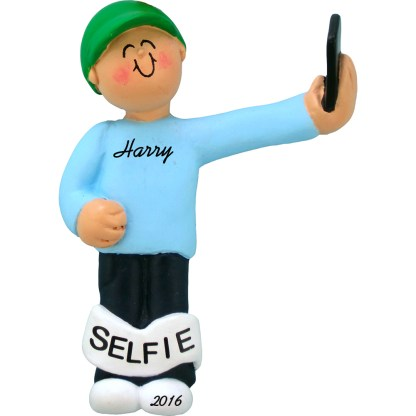 selfie male personalized christmas ornament