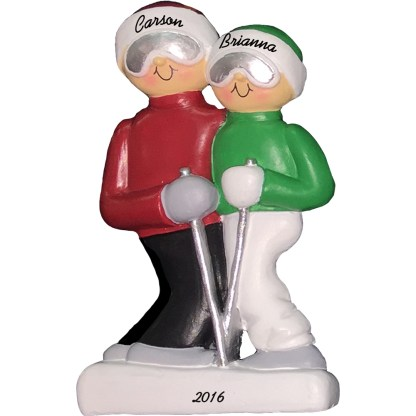 skiing couple personalized christmas ornament