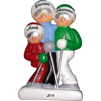 skiing family of three personalized christmas ornament