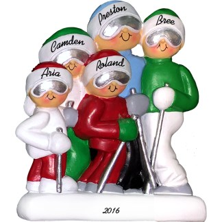 skiing family of five personalized christmas ornament
