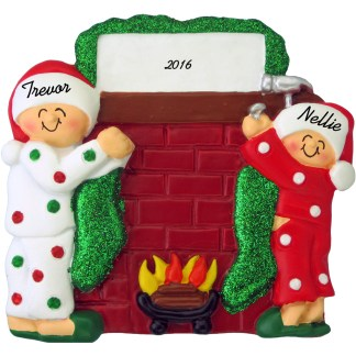 couple hanging stockings personalized christmas ornament