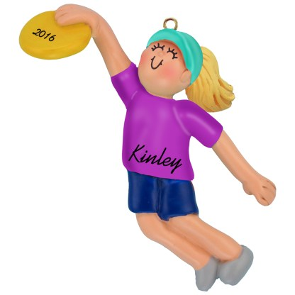 frisbee girl blonde personalized christmas ornament