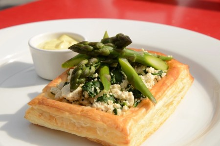 WFPB Asparagus Tofu-Ricotta Tart and Cashew Nut Hollandaise